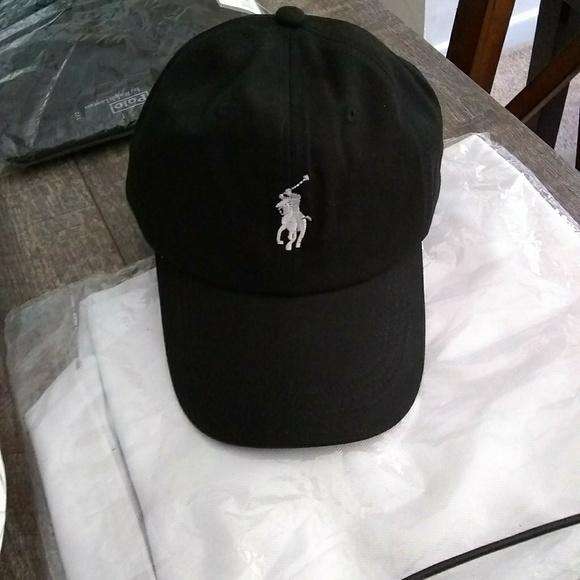 84ee2f58793 Black Polo RL Cap With White Pony Logo